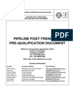 Pipeline Post Trenching Pre Qualification Document Offshore Offshore Construction