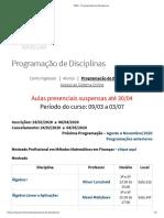 IMPA - Programação de Disciplinas Doutorado