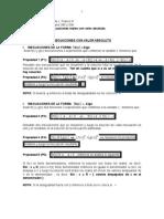 Núcleo 6 (parte B) Inecuaciones reales con valor absoluto SEMESTRE 02 DE 2015