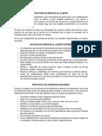 Politicas y estrategias de Servicio al Cliente