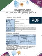 Guía de actividades y rúbrica de evaluación - Paso 1 - Diálogo con las familias y Documento escrito