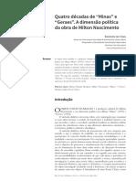 """Quatro décadas de """"Minas"""" e """"Geraes"""". A dimensão política da obra de Milton Nascimento"""