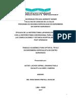 EFICACIA DE LA HISTERECTOMIA LAPAROSCOPICA COMPARADO