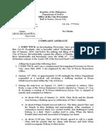 Complaint Affidavit  for Murder