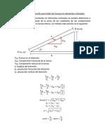 Procedimiento sencillo para hallar para fuerzas en elementos inclinadas