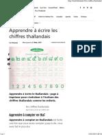 Apprendre à écrire les chiffres thaïlandais