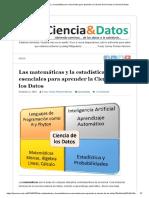 Las matemáticas y la estadística son esenciales para aprender la Ciencia de los Datos _ Ciencia & Datos