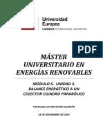 M5U3. Balance energético a un colector cilindro parabólico. Fco Javier Rueda Guzmán