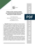 Pelegrí, X.  Trabajo social y servicios sociales, una complementariedad diferenciada a Acciones e Investigaciones Sociales