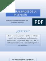 GENERALIDADES DE LA INVERSIÓN