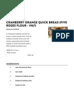 Cranberry Orange Quick Bread - Five Roses Cookbook - 1967