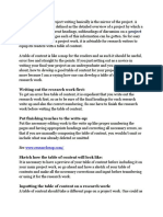 A table of content in project writing basically is the mirror of the project.docx