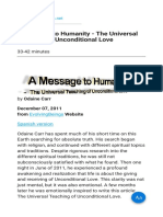 A Message to Humanity - The Universal Teaching of Unconditional Love