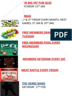 CLUB up and coming events JAN 20018