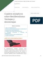 Cuadros sinópticos sobre Neoliberalismo_ Ventajas y desventajas _ Cuadro Comparativo