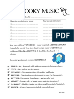 Spooky music tone poem worksheet