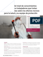 Evaluación del nivel de conocimientos que tienen los trabajadores que tratan con plaguicidas sobre los efectos nocivos para la salud y su equipo de protección