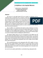 The Effect of Additives in Hot Asphalt Mixtures