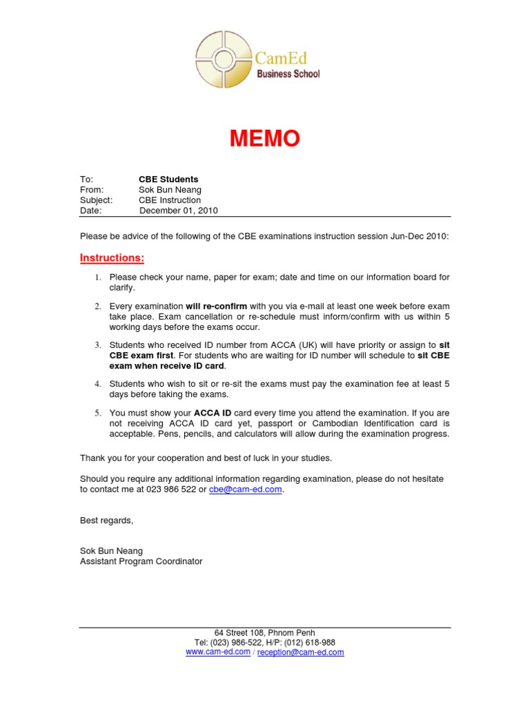 Student Memo for CBE Instruction | Test (Assessment) | Computing And