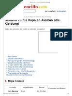 Glosario con la Ropa en Alemán (die Kleidung)