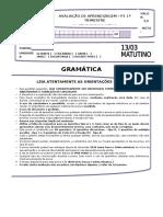 Gramática - p1 1º Tri - 1ª Série e.m Mat