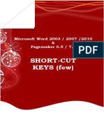 Microsoft Word and Pagemaker 6.5 Shortcut Keys