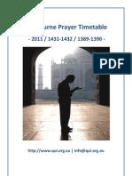 Melbourne Prayer Timetable 2011