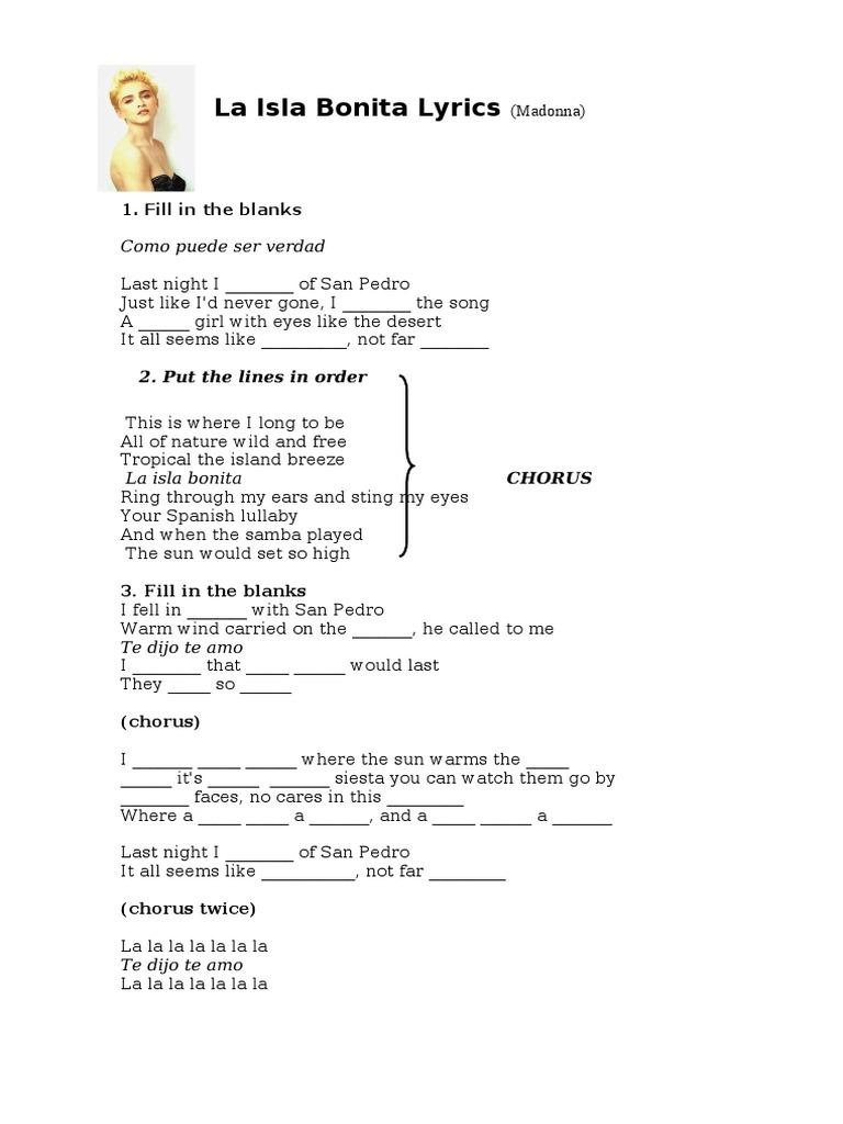La Isla Bonita Lyrics