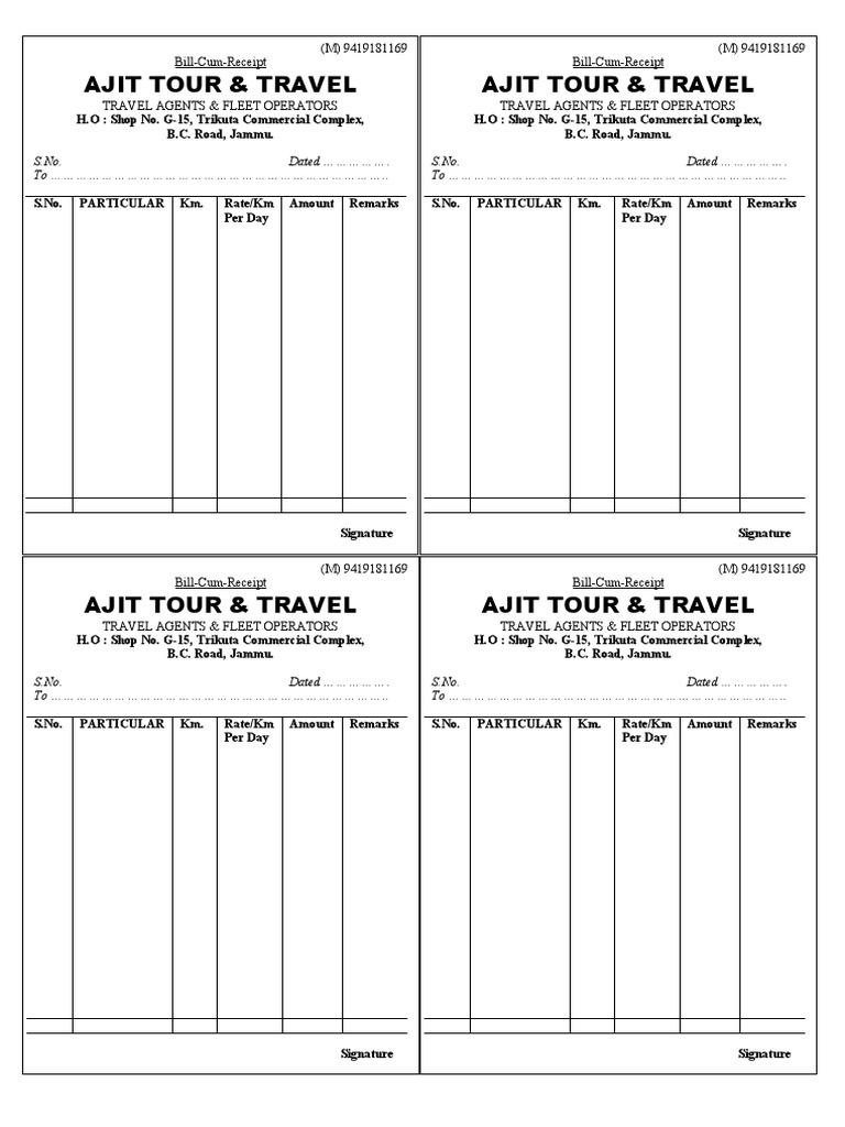 Tour Travel bill – Bill Formats
