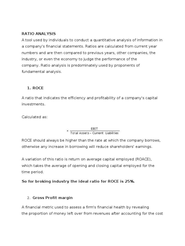 Ideal Ratios for Broking Industry | Gross Margin | Equity