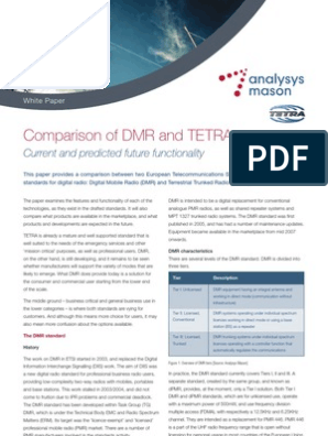 Comparison of DMR and TETRA Analysys Mason   Bit Rate   Radio