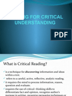 Reading for Critical Understanding 1