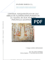 Control Arqueológico de las obras de acondicionamiento de la Iglesia de San Martín. Molinilla (Lantarón)