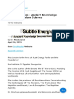 Subtle Energies - Ancient Knowledge Becomes Modern Science
