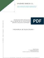 Intervención Arqueológica en el solar de la Calle Castillo, nº 10 (Santa Cruz de Campezo, Álava). Memoria de Resultados
