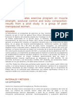 2015 Effects of a Pilates exercise program on muscle strength, postural control and body composition results from a pilot study in a group of post-menopausal women