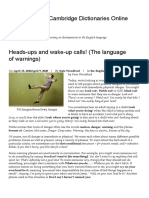 Heads-ups and wake-up calls! (The language of warnings) – About Words – Cambridge Dictionaries Online blog