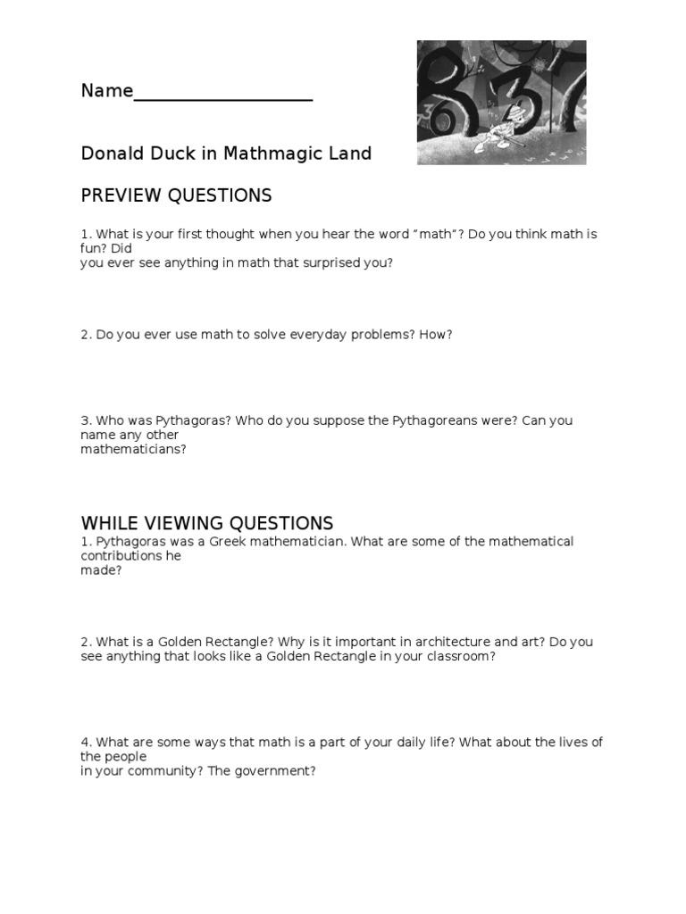 Worksheets Donald Duck In Mathmagic Land Worksheet donald duck worksheet
