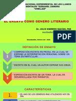 EL ENSAYO - GENERO LITERARIO
