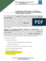 Convocatoria Asamblea General Modalidad Escrita - Lugano 145-2020