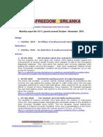 Media Freedom Sri Lank A Monthly Report No 10-11 - Oct-Nov 2010