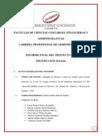 Informe Final del Proyecto de Proyeccion Social