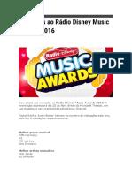 Indicados ao Rádio Disney Music Awards 2016