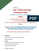appel centre francophone  international 2018