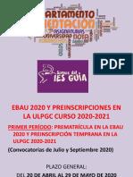 Instrucciones Preinscripción Ebau y Ulpgc 2020 Powerpoint