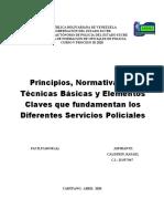 Principios, Normativa Legal, Tecnicas basicas y  Elementos que fundamentan los servicios policiales
