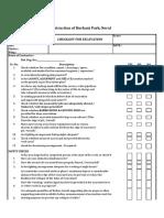 Checklist for Excavation
