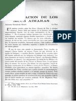 González Bravo, Antonio. 1949. Clasificacion de los sicus aimaras