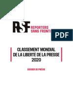 Classement RSF 2020