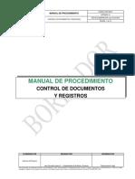 MANUAL DE PROCEDIMIENTO CONTROL DE REGISTROS